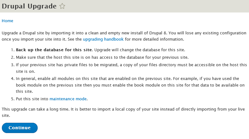 Upgrade ke Drupal 8