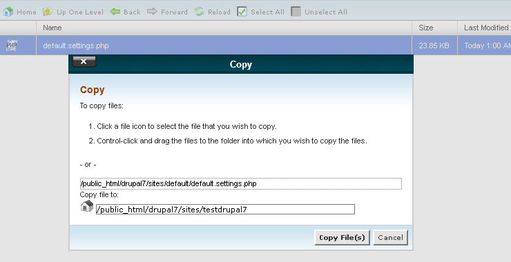 Copy file di File Manager pada Cpanel
